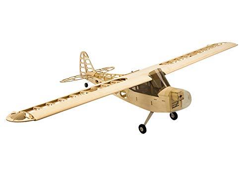 Jamara- 006148-piper j3 1200 mm cnc lasercut kit – 4 canali, fusoliera in balsa e compensato, taglio a laser, guida elettrica aereo modellismo, colore legno, 6148