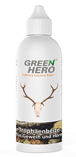 Green Hero Trophäenbeize für Geweih und Horn Aller Art, 200 ml, Naturfarbkonzentrat zum Nachfärben, Hirschhornbeize, Geweihbeize, Hornbeize -