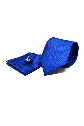 Oxford collection cravatta da uomo, fazzoletto da taschino e gemelli blu - 100% seta - classico, elegante e moderno - (confezione regalo, ideale per un matrimonio, con un abito, in ufficio.)