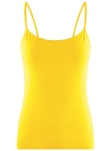 oodji Ultra Damen Tagless Jersey-Top mit Spaghettiträgern Gelb (5100N)