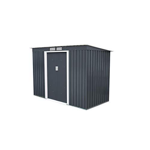 Gardiun KIS12994 - Caseta Metálica Reading, 3.16 m² Exterior, Gris Antracita