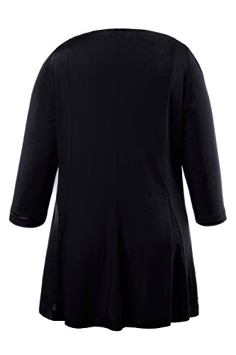 Ulla Popken Damen große Größen | Shirt | V-Ausschnitt, 3/4 Ärmel, Uni | bis Größe 58/60 | 707465 Dunkelblau