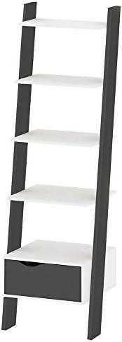 Tvilum Particle Board Oslo Book Case, 75385, White/Matte Black, H180.4 x D55.1 x W48.1 cm, DIY Assembly