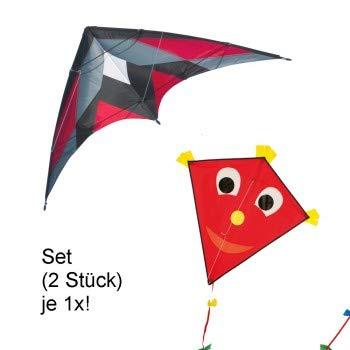CIM Drachenset RED - Katana MUSTHAVE Red & Happy Eddy RED - komplett flugfertig - ideal für Familienausflüge und gemeinsame Aktivitäten
