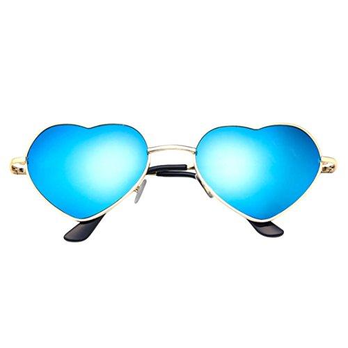 SANFASHION Unisex Herren Damen Metallrahmen Liebe Herzform Sonnenbrille (C)