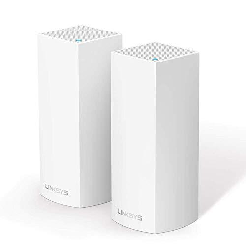 Linksys WHW0302 Velop Tri-Band Mesh-WLAN-System (AC4400 WLAN-Router/WLAN-Extender für eine nahtlose Funkabdeckung, Kinderschutzfunktionen, kompatibel mit Alexa, 2er-Pack, für bis zu 350 m², Weiß)