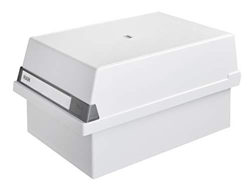 HAN Karteikasten A5 955-11 für 1.300 Karten, quer - Karteikartenbox in Lichtgrau mit großem Schriftfeld & inkl. 2 Stützplatten - simpel Ordnung halten