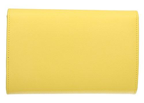 Elaine oro Syn Clip in metallo in pelle da sera, da donna, ideale per matrimoni, feste, SWANKYSWANS frizione Giallo (giallo)
