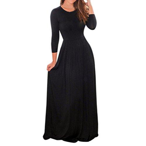 Reaso Robe Longue Femme Maxi Robe Elegant Manche Longue Taille Haute Col Rond Vintage Chic Robe de Cocktail Fete Party Soiree Bohême Robe Mi-Longues (L, Noir)