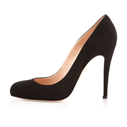 EDEFS Femmes Artisan Fashion Escarpins Bout Ronds en Suède Couleurs Vives Chaussures à talon de 100mm Bleu Noir