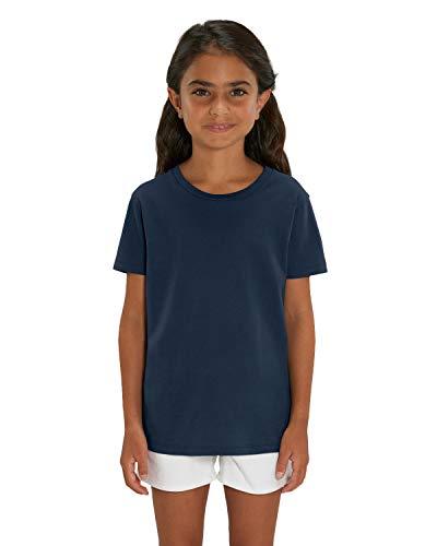 Hochwertiges Kinder T-Shirt aus 100% Bio-Baumwolle für Mädchen und Jungen. Eignet sich hervorragend zum bedrucken. (z.B.: mit Transfer-folien/Textilfolien), Size:98/104, Color:French Navy -