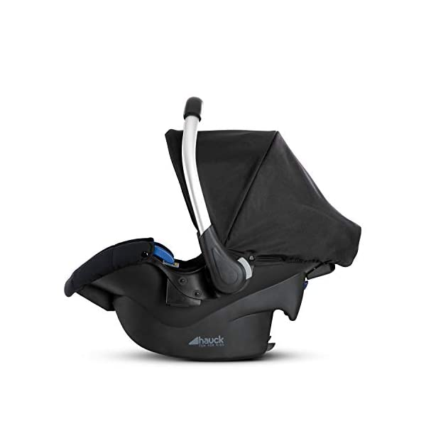 Hauck Comfort Fix Set, Lightweight Group 0 Car Seat with Isofix Base, ECE 44/04 from Birth to 13 kg, Side Impact Protection, Safety Indicators, Travel System, Black Hauck NEW-BORN CAR SEAT - This comfy car seat with ergonomically shaped carry handle made of aluminium, breathable fabrics, head protection, seat minimizer, and sun hood is suitable from birth up to 13 kg SAFETY - The Comfort Fix car seat is approved to ECE 44/04. With its side-impact protection, tried and tested energy-absorbing foam in head and shoulder area, as well as 3-point harness, it has also received best crash test results by ADAC (2.1) TRAVEL SYSTEM - Combine the car seat with hauck pushchairs Rapid 3, Rapid 4, Rapid 4S, Rapid 4X, Atlantic, Maxan 3, Maxan 4 and their Trios, Duett 3, Rapid 3R Duo without adapters, and Vegas, Lift Up 4 as well as Duett 2 with adapters 9