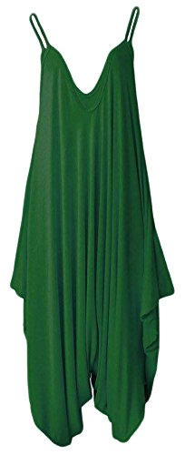 Frauen Damen Plain ärmel Cami Baggy Strapy Body Harem Jumpsuit Playsuit Lagenlook Top-Kleid plus Größe XL XXL XXXL 36 38 40 42 44 46 48 50 52 54, Bottle-Green, M / L - Girl Cami