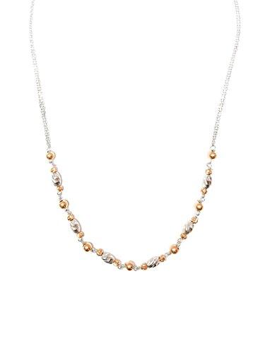 Collana donna girocollo in argento 925 rodiato e rosè - lunghezza cm42 allungabile - Linea Italia gioielli Made in Italy