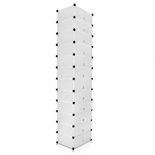 VENKON - Schuh Steckschrank Stoffschrank Frei Gestaltbares DIY Regalsystem: 12 Modulfächer mit Türen, satiniert-transparentes Steckregal