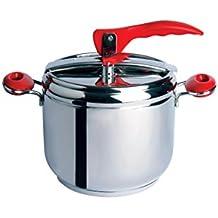 Excelsa Cook Color Pentola a Pressione 5 Litri, Acciaio Inossidabile, Rosso, 28 x 25 x 25 cm