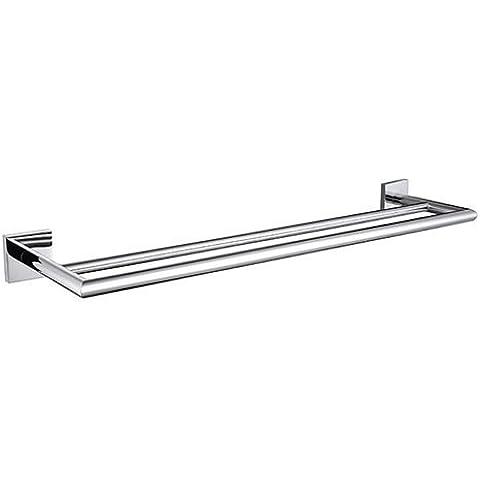 QUEEN'S Bagno moderno piedistallo asciugamano doppio di rame a doppia asta quadra , 4,Home Bagno Decorazione Essentials