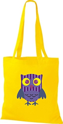 ShirtInStyle Jute Stoffbeutel Bunte Eule niedliche Tragetasche mit Punkte Karos streifen Owl Retro diverse Farbe, weiss gelb