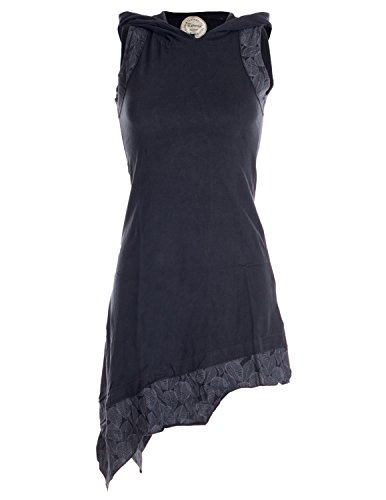 (Vishes - Alternative Bekleidung - Asymmetrisches Damen Elfenkleid Baumwolle mit Zipfelkapuze Schwarz 36-38)