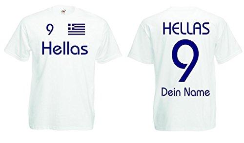 Griechenland Hellas T-Shirt mit Wunschname und Wunschnummer|w-m
