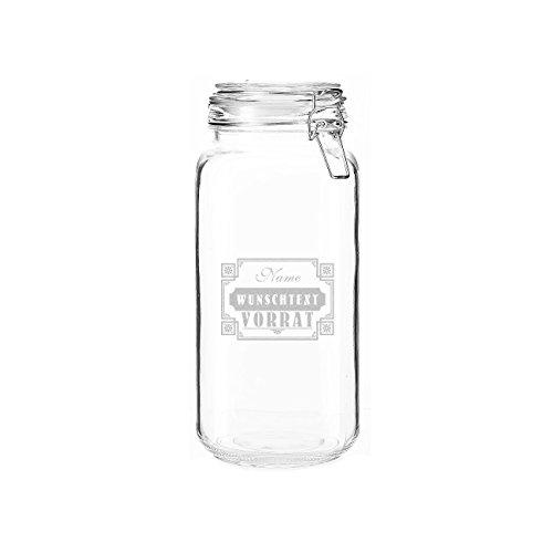 Privatglas 2 Liter Vorratsdose Glas - Vorrat - mit gratis Gravur - Name und Inhaltsaufschrift