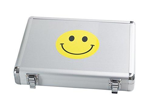 Fly Tischtennis Alu Schlägerkoffer - SMILE - (silber/gelb)