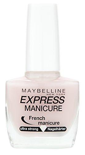 Maybelline Express French Manicure, Nr. 16 Petal, Nagelhärter und Farblack in einem, stärkt brüchige Nägel, verleiht einen zarten Schimmer, in pastelligem rosa, 10 ml