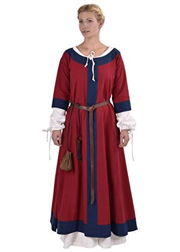 Mittelalter Kleid Gudrun lang für Damen aus Baumwolle rot/blau XXL - Mittelalter Kleidung Wikinger LARP Mittelalterkleid blau rot (XXL, rot/blau)
