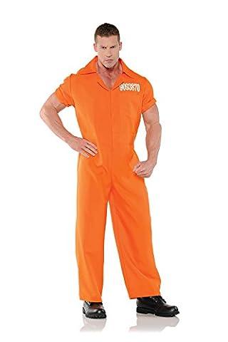 Costumes Orange Jumpsuit - Underwraps Convicted Mens Orange Convict Prisoner Jumpsuit