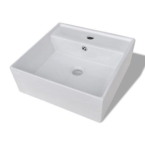 vidaXL Luxueuse Vasque Céramique Carrée Trop Plein Toilette Lave-Mains Lavabo