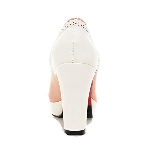 VogueZone009 Femme à Talon Haut Matière Souple Couleurs Mélangées Tire Rond Chaussures Légeres Rose