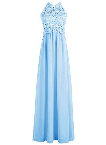 Dresstells Robe de demoiselle d'honneur Robe de cérémonie forme empire en mousseline dentelle longueur ras du sol Bleu