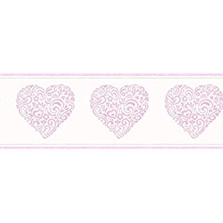 Fine Decor Girls Cream Metallic Pink Floral Love Heart Modern Wallpaper Border
