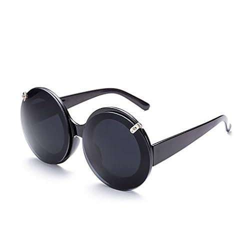 Hmilydyk Retro Lunettes de soleil vintage Shades classique ronde objectif miroir Steampunk Punk hippie UV400Lunettes pour femme, Black Frame Grey