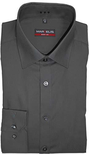 MARVELIS Body Fit Hemd Langarm Popeline graphit, 41 (Graphit Langarm-shirt)