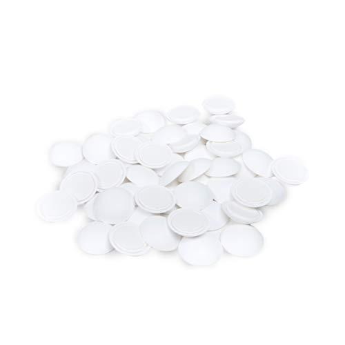 Sossai 50 x Türpuffer (Großverpackung) / Wandpuffer/Türstopper Selbstklebend TP40 | Ø : 40 mm | Farbe : Weiß | Material : Polyethylen
