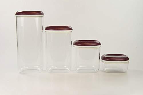 TUPPERWARE Clear Collection1,8L+1,3L+780 ml+ 240 ml Crystal Vorratsdose bordeaux 32521 - Tupperware Crystal