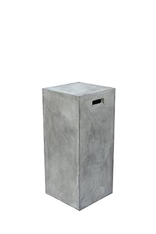 Blumen-Säule grau aus Leichtbeton mit Grifflöchern quadratisch 33x33x74 cm | Concrete | Grauer Blumen-Hocker aus Leicht-Beton für Ihr Zuhause 33cm x 33cm x 74cm