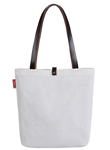 White Soeach Shoulder Letters Bag Printed Top Retired Womens Handle Tote Canvas grqngxv