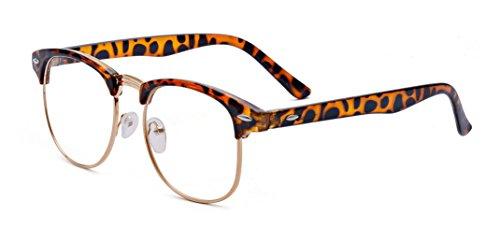Outray Vintage Retro Classic Halbrahmen Horn umrandeten klare Linse Brille 2135c4 Leopard (Umrandeten Brille Horn Frauen Für)