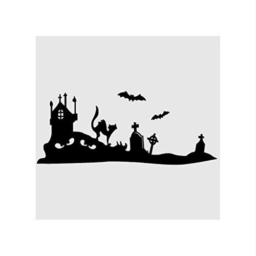 �e Wandaufkleber Schloss Fledermaus Friedhof Katze Glas Aufkleber Fensteraufkleber Poster Vinyl 26x58 cm ()