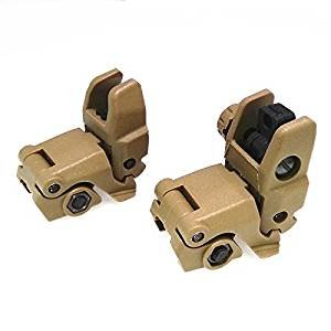 FIRECLUB Tactical Polymer Folding Front and Rear Set Flip Up Backup Sights Dark Earth DE -