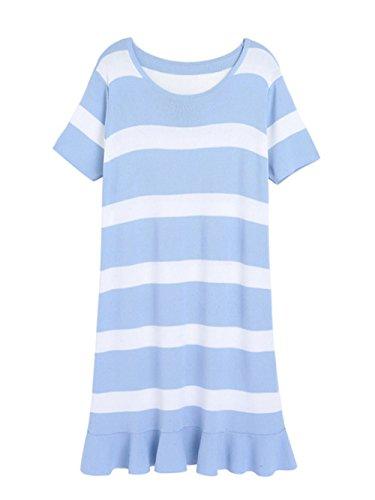 HC11-Kurze Ärmel Ärmelloses Damen Lange Röcke Kleider Stripe Rock Big Code Stricken Westlichen Rand von Lotusblättern, Blau, Alle Codes (Westlichen Rand)