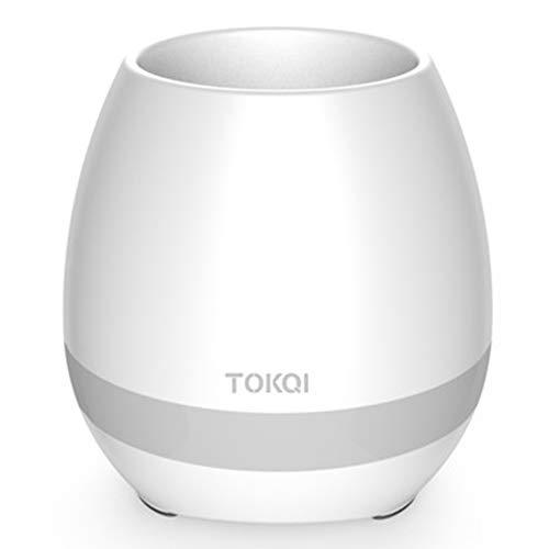 ZRK Bluetooth-Lautsprecher-Smart-Musik-Blumentopf-Play-Piano-Musik-Blumentopf-Multi-Receive-Musik zum Umschalten auf farbenfrohe Nachtlichtmodus-Geeignet für Familienküche-Balkon,White