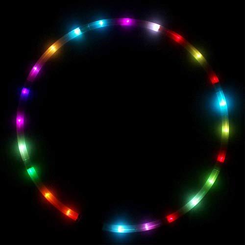 Forart LED Hoola Hoop Dance & Fitness Glow Weighted Light Up Hoola Hoops für Erwachsene Kinder, 24 Farbe Strobing Ändern LED Light Fitness Hoops Toy