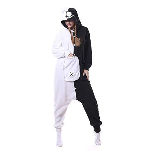 Schwarzer Bär Kostüm Frauen - XH Unisex Erwachsene Tier Monokuma Pyjama Cartoon Schwarz Weißer Bär Rollenspiel Kostüm Overall Weihnachten (Größe: S-XL)