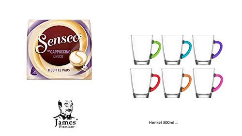 Senseo Kaffeepads Cafe Cappuccino Choco,8 Pads für Senseo und weitere Kaffeemaschinen Aktion+ 6 Kaffeebecher mit Henkel cc 300