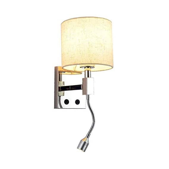 CITRA LED Wall Lights Reading Bedside Stainless Steel Wall Lamp Round Flexible Neck with Dimmer Switch Living Room Bedroom Hotel Wall Surface Mounted Sconces Decoration Lighting
