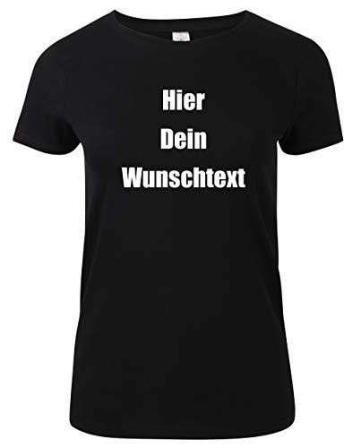 Damen T-Shirt Rundhals Bedrucken mit dem Amazon Tshirt Designer. T-Shirt selber gestalten. T-Shirt Druck. T-Shirt mit Wunschtext. T Shirts sind Ökotex-100 Zertifiziert. Schwarz XXL -
