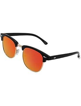 AMZTM Clásico Retro Clubmaster Cuerno Media montura Gafas De Sol Polarizado